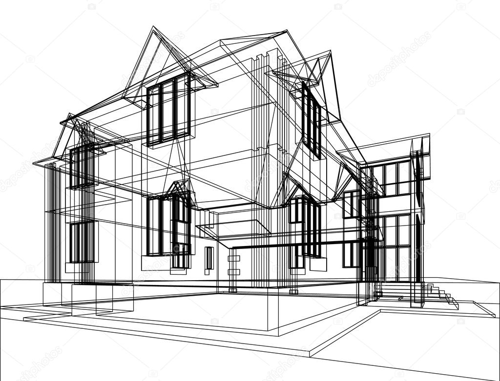 Abstract sketch of house. Architectural 3d illustration stock vector