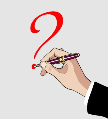 Hand with pen writing a question mark