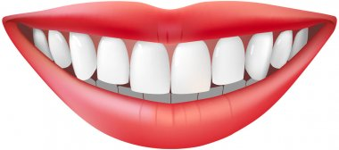 Beautiful smiling mouth with beautiful healthy teeth isolated on white stock vector