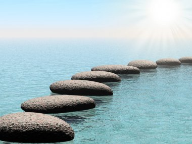Float stones with sun beam