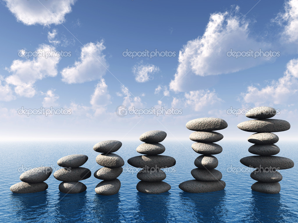 Row of stones in water