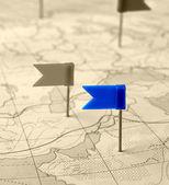 Vlajka modrý špendlík na mapě