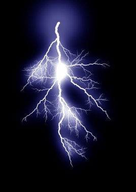 Lightning isolated blue
