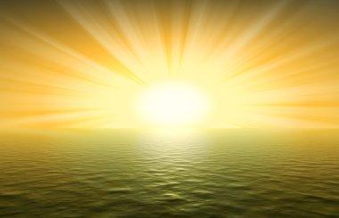 Yellow sunset. An effective decline above ocean. stock vector