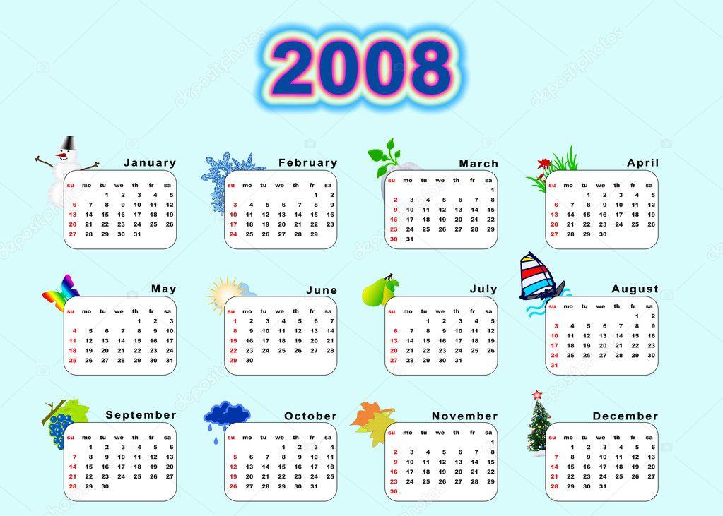 2008 naptár naptár 2008   évszakok — Stock Fotó © galdzer #6190744 2008 naptár