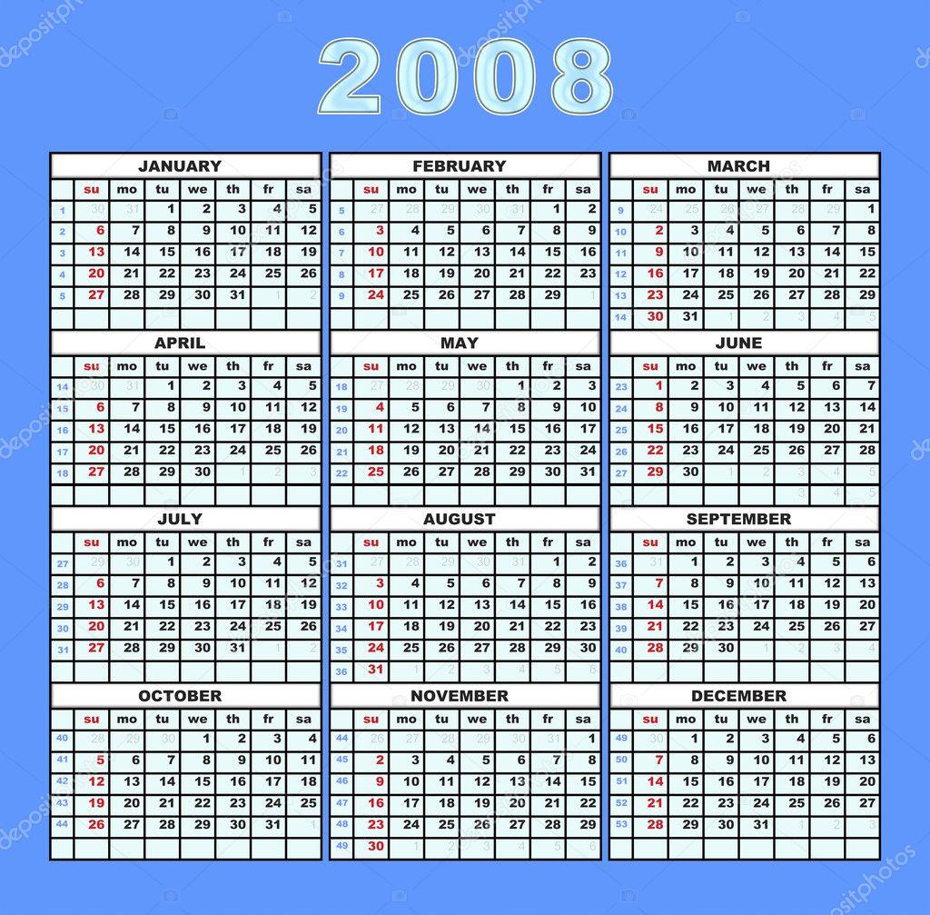 2008 naptár naptár 2008 — Stock Fotó © galdzer #6190751 2008 naptár