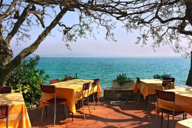 Outdoor restaurant in Sirmione, Italy.
