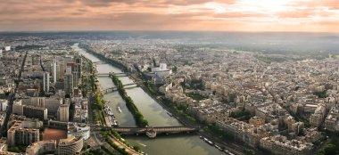 Aerial panoramic view of Paris and Seine river.