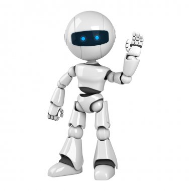 Funny robot stay show hello