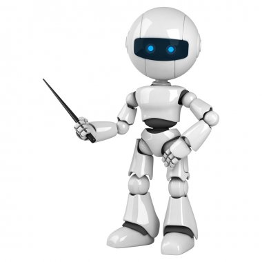 Funny robot stay with pointer