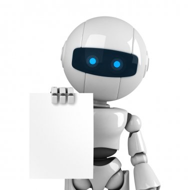 Funny robot stay and show blank document
