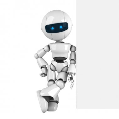 Funny robot stay with wall