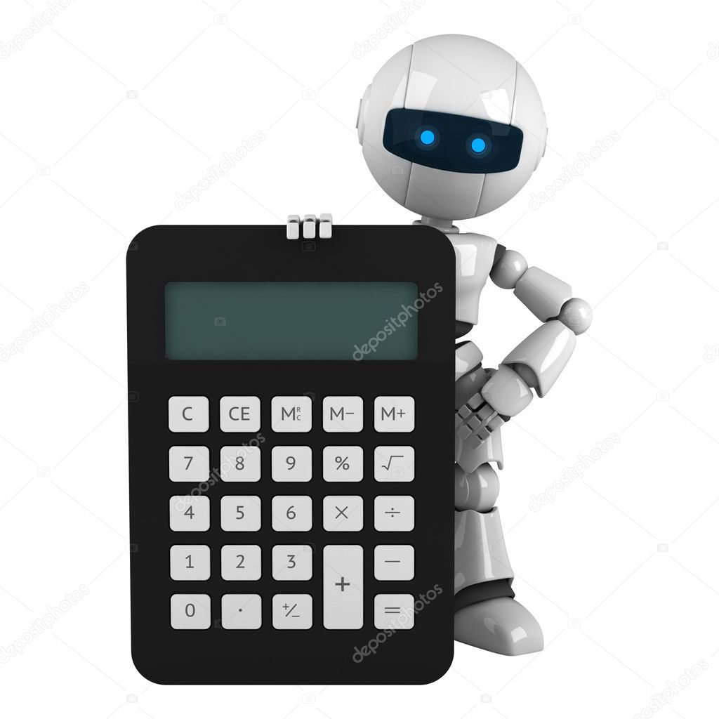 Funny robot stay with calculator — Stock Photo © VikaSuh