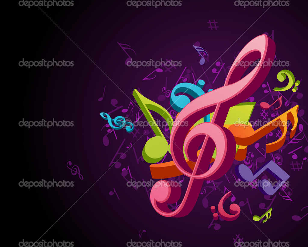 3d Colorful Music Notes Wallpaper: Colorful Music Notes Vector Background