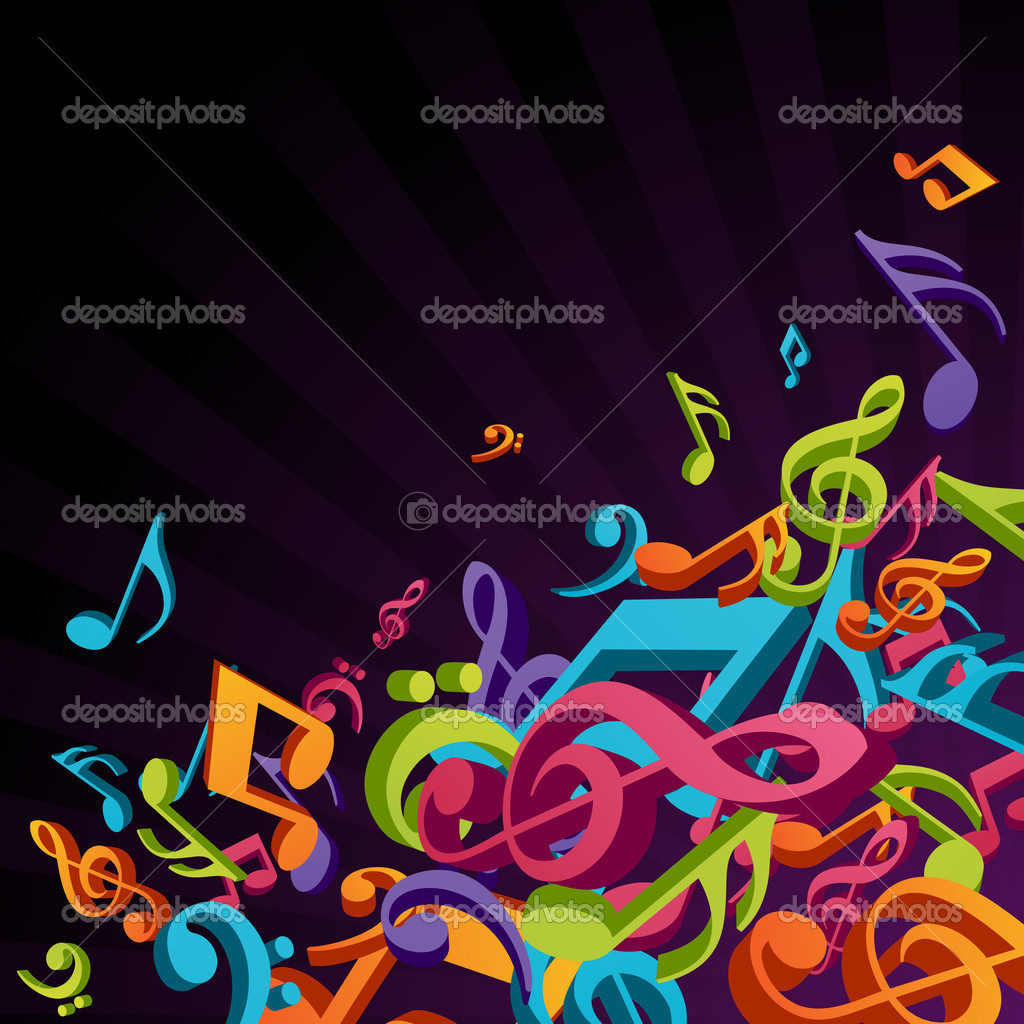 Colorful music notes vector background