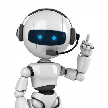 Funny robot stay with headphones
