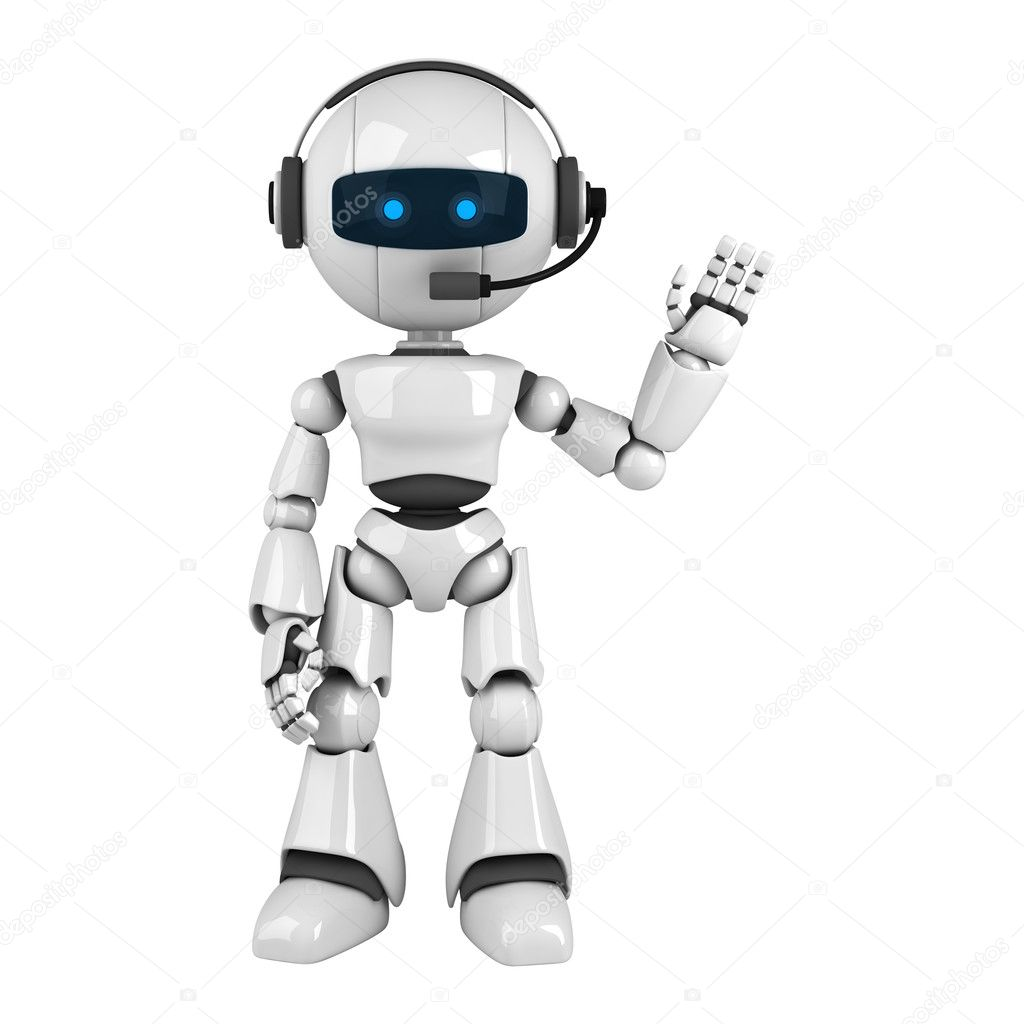 Funny robot stay with headphones — Stock Photo © VikaSuh ...