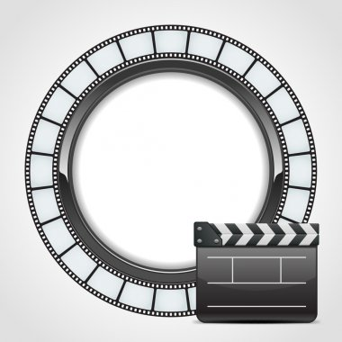 Film round tape with cinema clap vector background