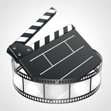 Film clap board cinema strip vector illustration
