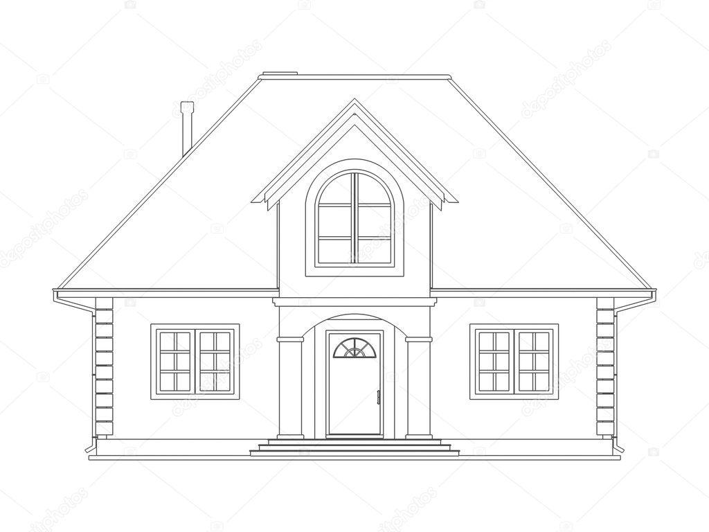 Huis technische tekenen stockfoto vikasuh 6337753 for 3d woning tekenen