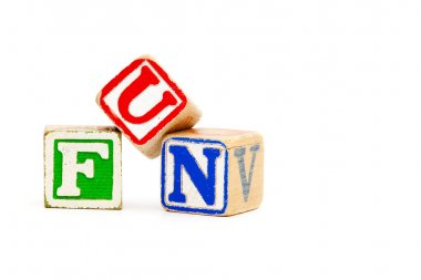 The word fun with childrens wooden blocks
