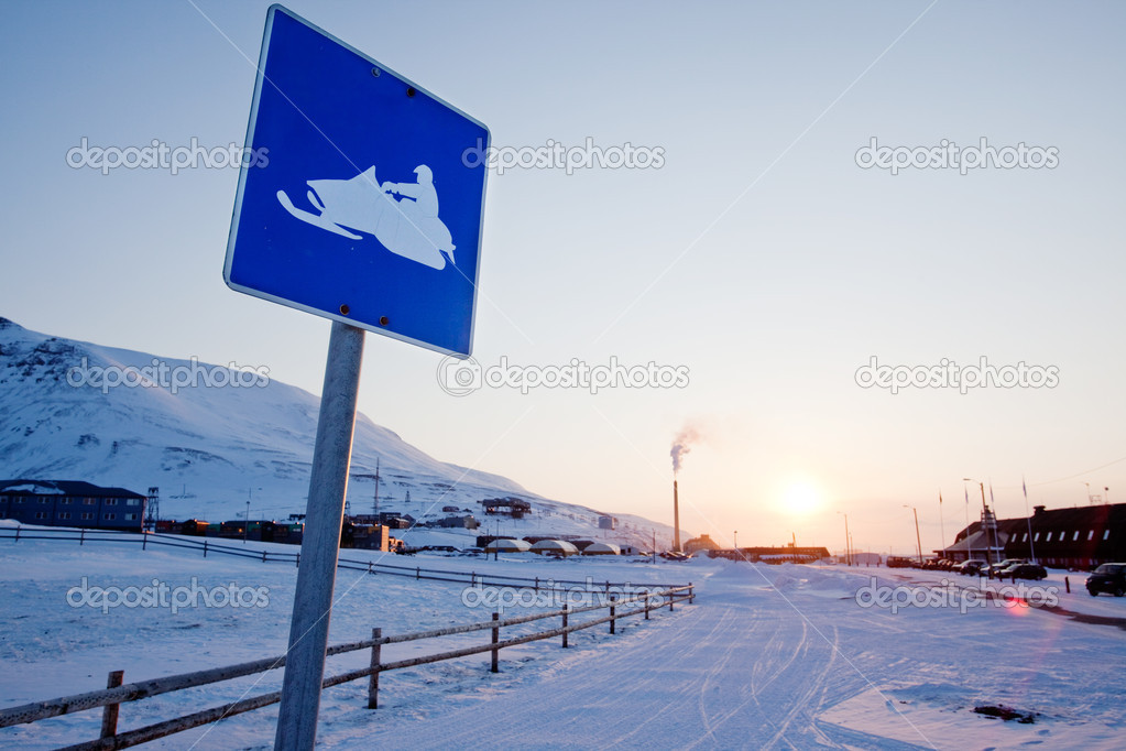Snowmobile Sign Svalbard
