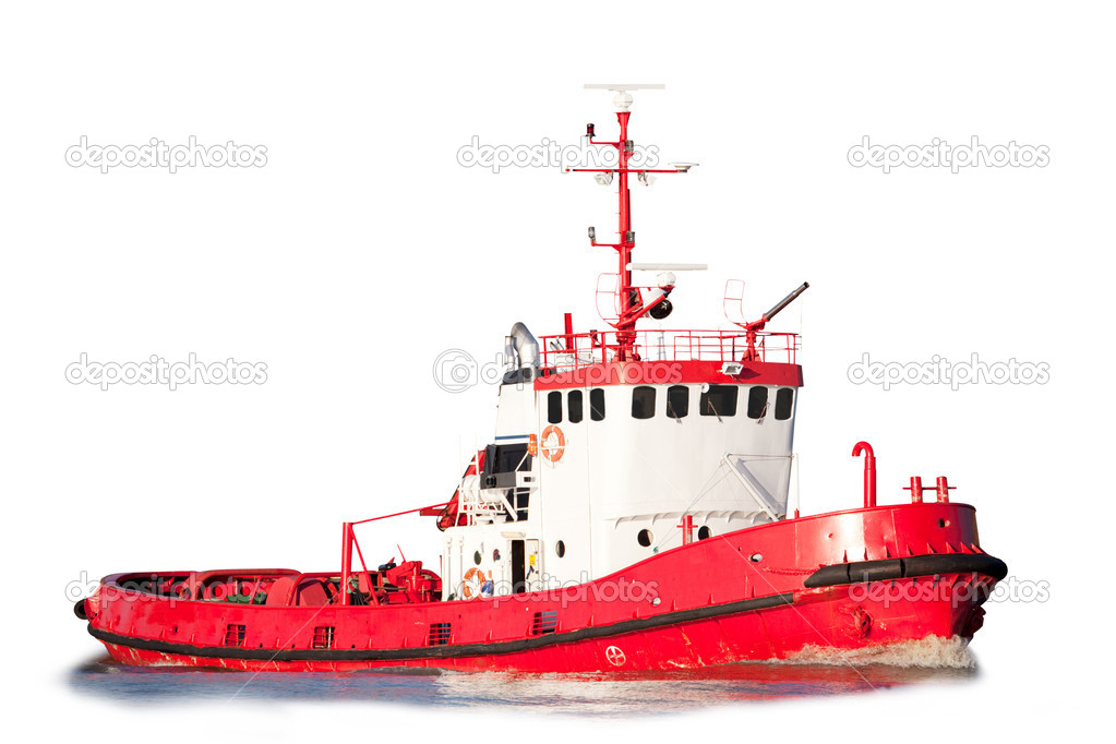 An isolated tug boat equipped with saftey equipment
