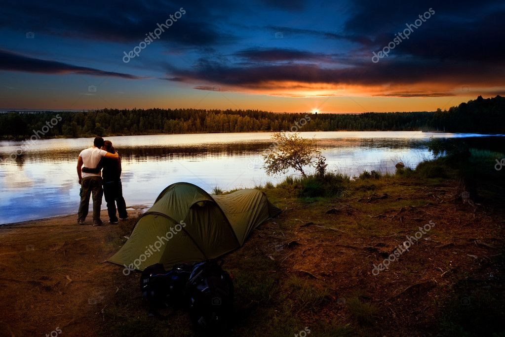 Camping Lake Sunset