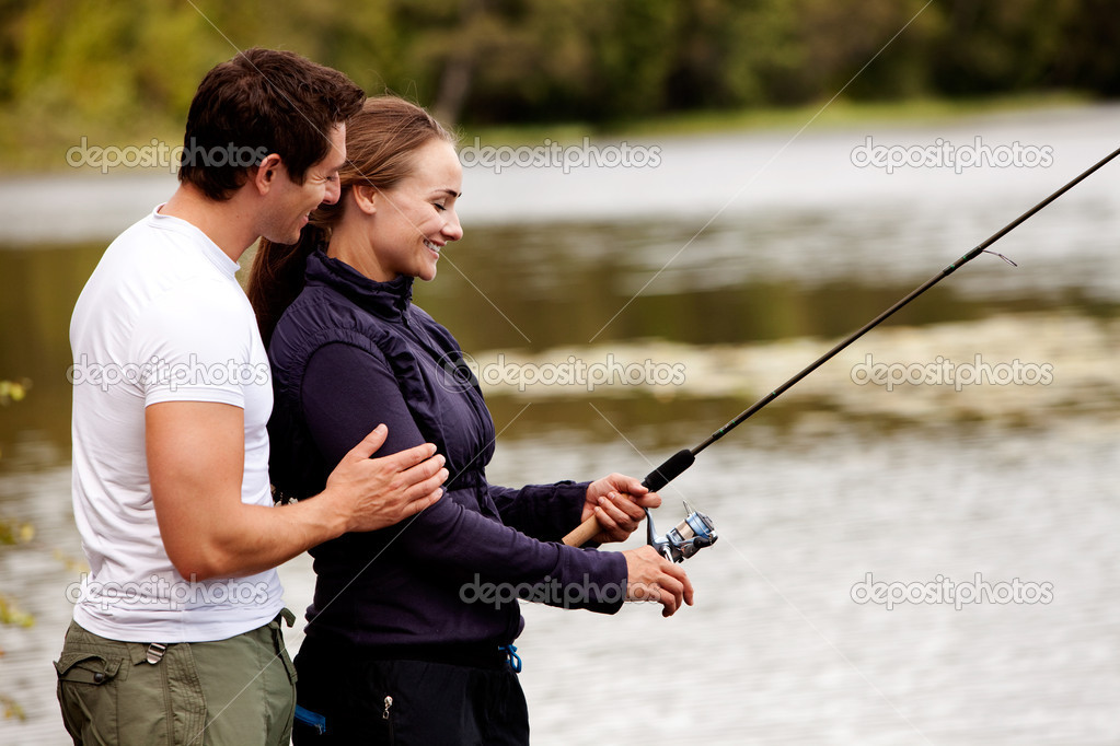 Happy Fishing Woman