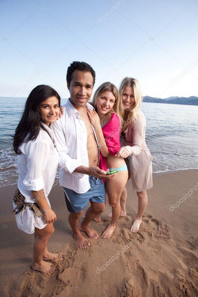 Cellphone Beach Friends
