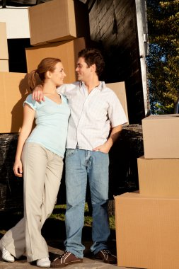 Couple with Moving Van