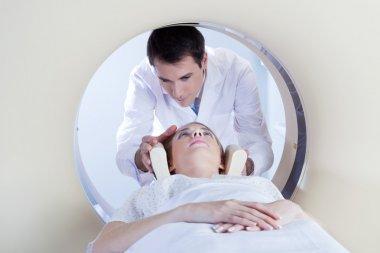 Patient going through MRI test