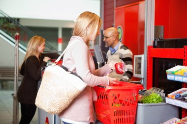 Customer shopping in supermarket