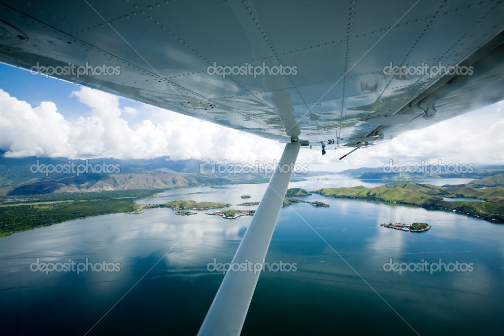 Flying over lake Sentani, Papua Indonesia