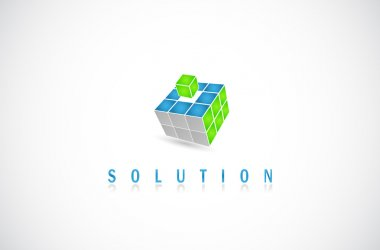 Cube puzzle in vector with 3d effect