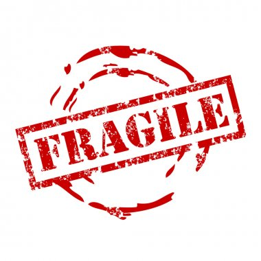 Vector fragile stamp with red ink