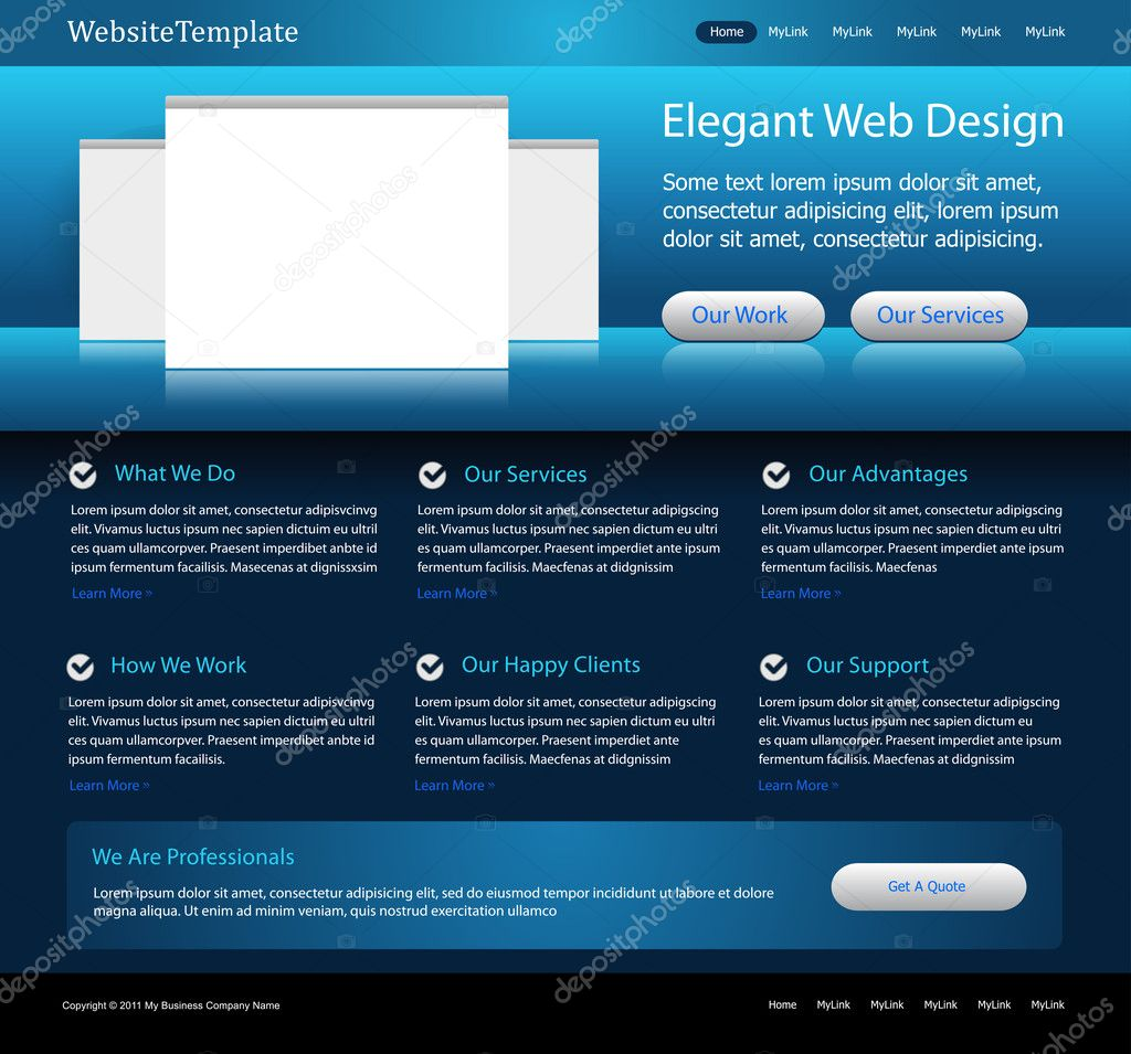 elegantes Business-blaue Website-Templates — Stockvektor ...