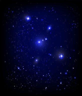 Starry night sky and Orion nebula