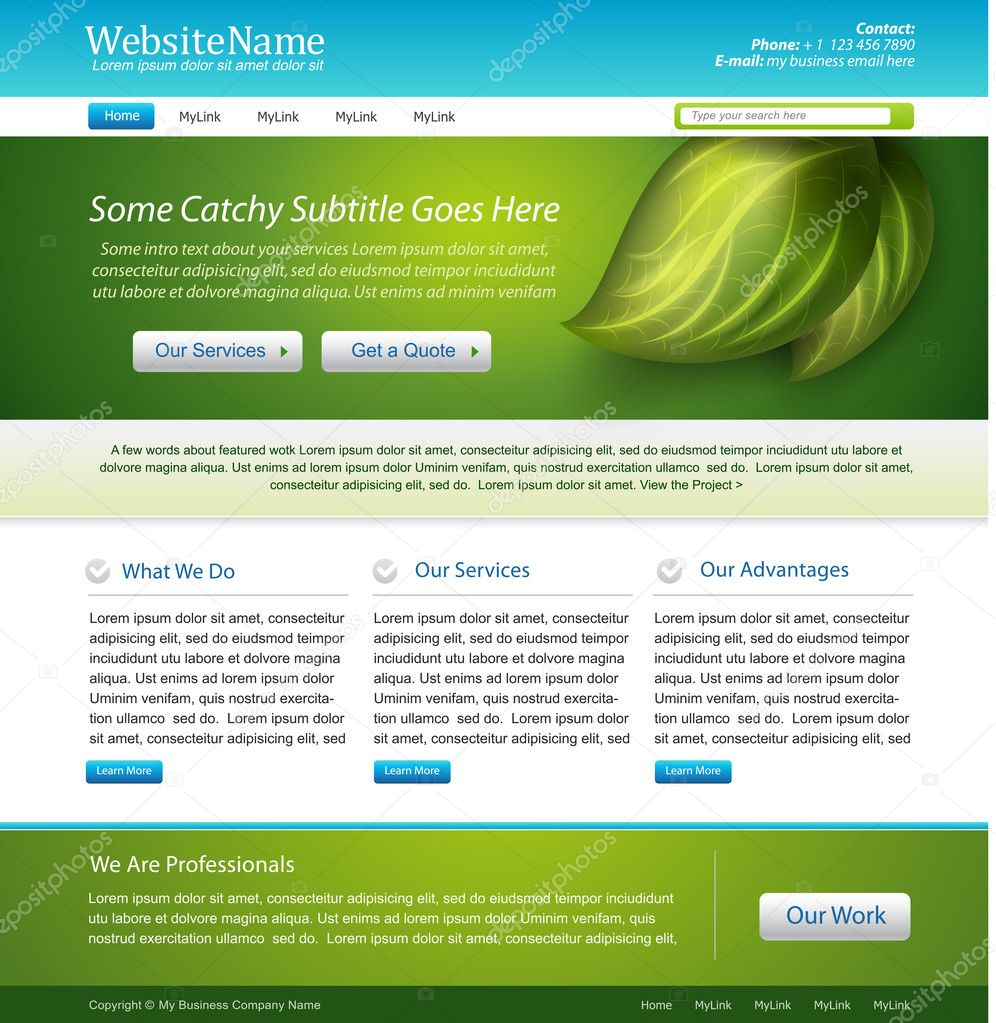 789db6a4c Diseño del sitio web naturaleza tema plantilla — Archivo Imágenes  Vectoriales