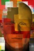 Fotografie Man portrait with squares pattern 3d illustration