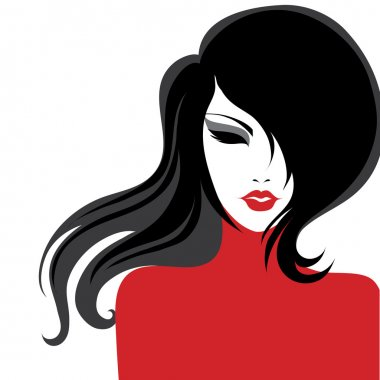Vector closeup portrait of a girl in red dress