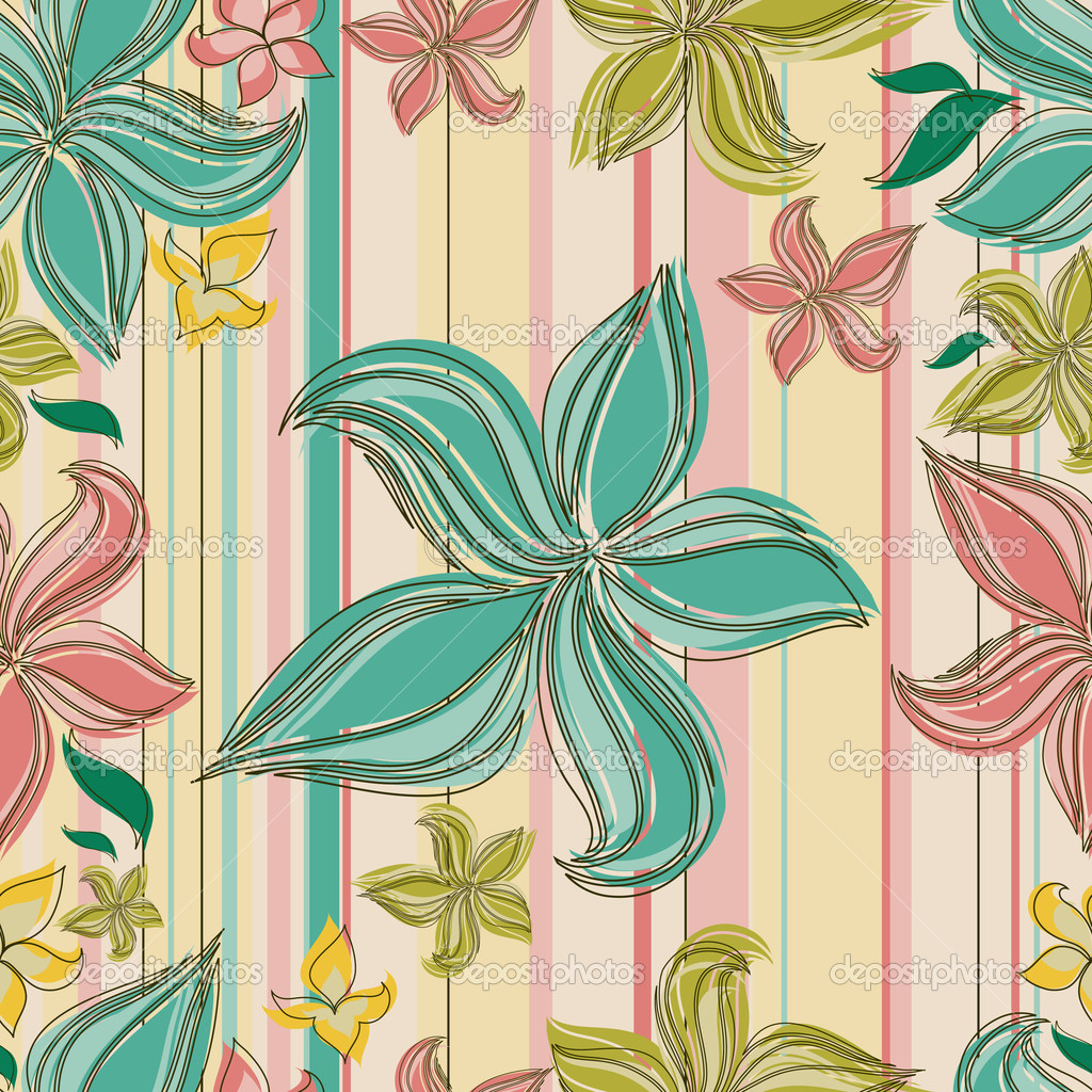 Vector Seamless floral pattern with orchid flower