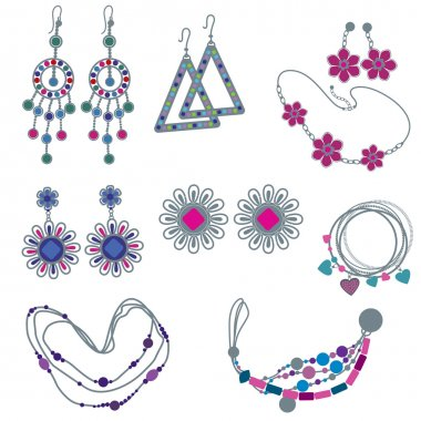 Vector set of fashion jewelry
