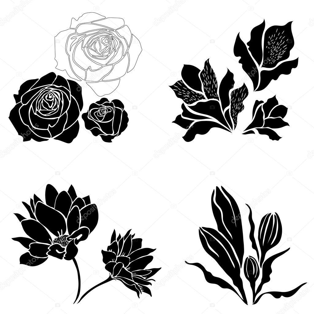 Set Of Black Flower Design Elements Stock Vector: Set Of Black Flower Design Elements