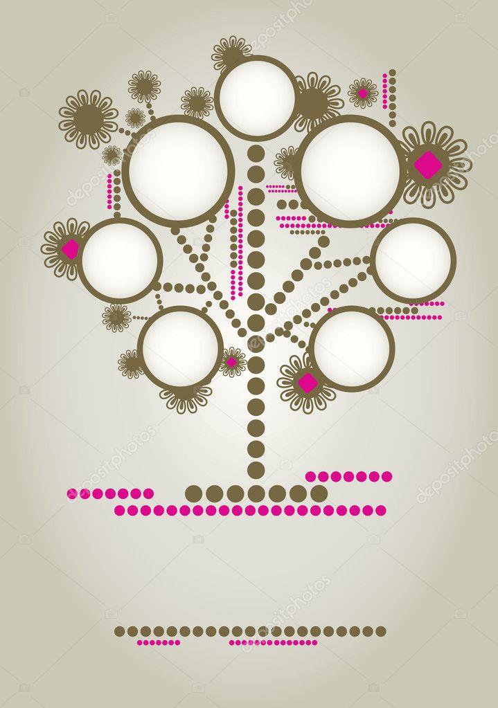 Vector diseño de árbol genealógico con marcos — Vector de stock ...
