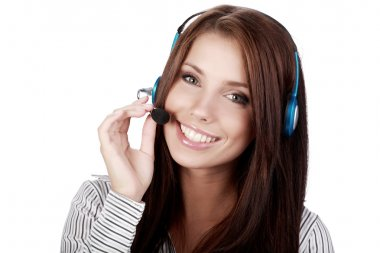 Customer Support girl with headset smiling during a telephone
