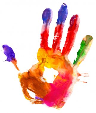 Colored hand print.