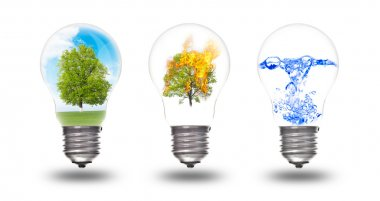 Light bulb with three elements inside: nature, fire and water
