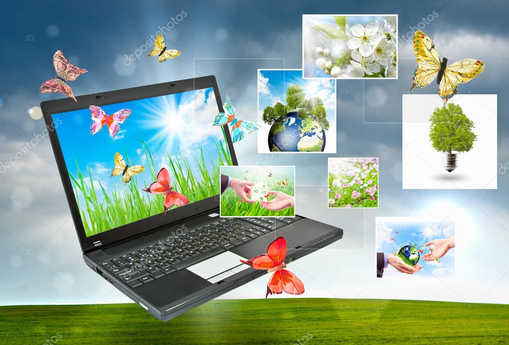 Collage of laptop against green nature