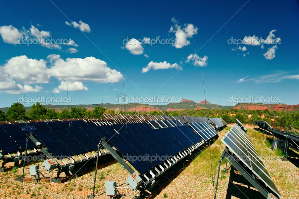 Solar panels in Utah under blue sky